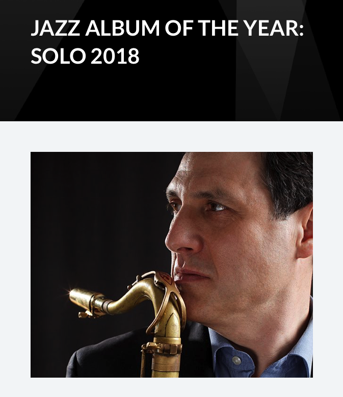 JUNO Nominee-JAZZ ALBUM OF THE YEAR: SOLO 2018 RALPH BOWEN